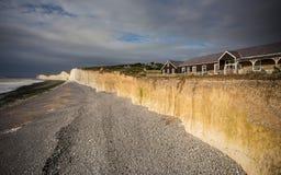 Jurajski wybrzeże przy Siedem siostrami przy zmierzchem, Anglia, UK Zdjęcia Royalty Free