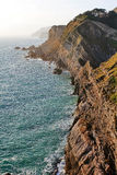 The Jurasic Coast showing rock strata, near West Lulworth, Purbeck, Dorset Royalty Free Stock Photos