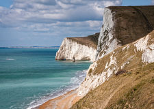 Jurassic Coast Cliffs Dorset England. White chalk cliffs of Swyre Head and Bats Head promontory on the Jurassic Coast. Dorset, England, UK Stock Images