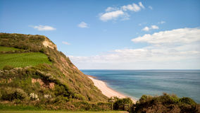 Jurassic Coast in Devon, UK. The jurassic coast between the villages of Beer and Branscombe. Devon, England stock image