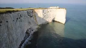 Jurassic Coast Dorset England UK Old Harry Rocks chalk formations including a stack and a stump at Handfast Point Isle of Purbeck stock video