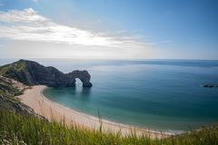 Jurassic Coast on the south coast of England. On a day with blue sky and sun royalty free stock photo