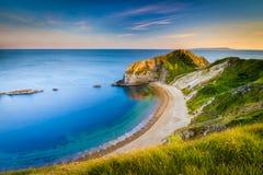 Jurassic Coastline around Durdle Door. Geologically important and stunningly beautiful Dorset coastline Royalty Free Stock Image