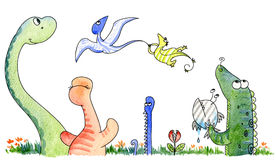 Jurassic cute friends. A cute funny group of strange animals from the jurassic age. Watercolor stock illustration