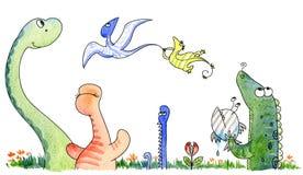 Jurassic cute friends stock illustration