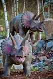 Jurassic dinosaurier på djungeln Fotografering för Bildbyråer