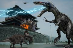 Jurassic dinosaurs in Beijing Yongding Royalty Free Stock Photography