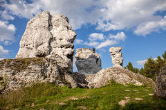 Jurassic limestone rocks - Polish Jura. Royalty Free Stock Images