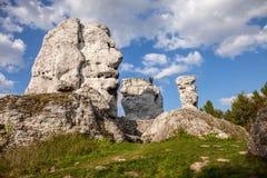 Jurassic limestone rocks - Polish Jura. Royalty Free Stock Images