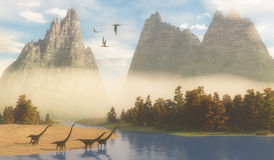 Jurassic Mamenchisaurus Habitat. Dimorphodon reptiles fly over a herd of Mamenchisaurus dinosaurs coming down to a river for a drink Royalty Free Stock Photos