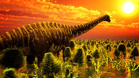 Jurassic park. With big diplodoc Royalty Free Stock Photography