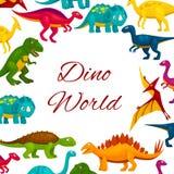Jurassic park cartoon dinosaurs poster Royalty Free Stock Photos