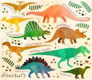 Jurassic park. Pattern with cartoon dinosaurs for kids.  Vector illustration Stock Photos