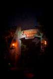 Jurassic Park ride at night in Universal Orlando theme park Royalty Free Stock Photo
