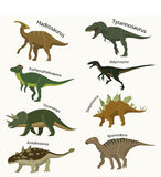 Jurassic period animals set icons. Flat style. vector illustration royalty free illustration