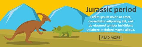 Jurassic period banner horizontal concept. Flat illustration of jurassic period banner horizontal vector concept for web design stock illustration