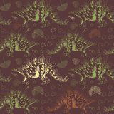 Jurassic Stegosaurus. Seamless vector pattern Stock Photo