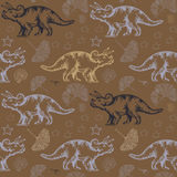 Jurassic triceratops. Seamless vector pattern Stock Photography