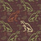 Jurassic Tyrannosaurus rex. Seamless vector Stock Image