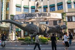 Jurassic World: Fallen Kingdom Promotional Tyrannosaurus rex. Los Angeles, CA: May 6, 2018: Promotional Tyrannosaurus rex T-rex for the upcoming film Jurassic Royalty Free Stock Image