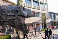 Jurassic World: Fallen Kingdom Promotional Tyrannosaurus rex T-rex. Los Angeles, CA: May 6, 2018: Promotional Tyrannosaurus rex T-rex for the upcoming film Stock Photography