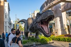 Jurassic World: Fallen Kingdom Promotional Tyrannosaurus rex T-rex. Los Angeles, CA: May 6, 2018: Promotional Tyrannosaurus rex T-rex for the upcoming film Royalty Free Stock Images