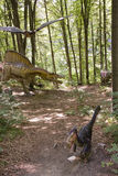 Jurassic world scene. Jurassic period scene at Dino Parc Rasnov, Romania Stock Photography