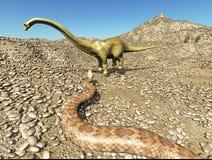 Jurassischer prähistorischer Szenendinosaurier der Dinosaurier, der mit Wiedergabe der Schlange 3d kämpft Lizenzfreie Stockfotografie