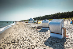 Jurata,Poland-September 9,2016:Wicker chairs on Jurata beach on Royalty Free Stock Photos