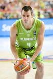 Jure Balazic of Slovenia. At FIBA World Cup basketball match between Slovenia and Dominican Republic, final score 71-61, on September 6, 2014, in Barcelona Royalty Free Stock Photos