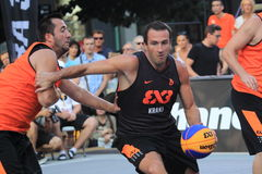 Jure Erzen - 3x3 basketball. Jure Erzen from the slovenian team Kranj  in 3x3 streetball competition held in Prague on 9.8.2015 Royalty Free Stock Photography
