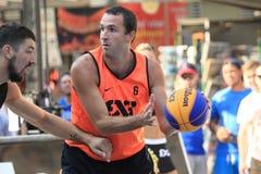 Jure Erzen - 3x3 basketball. Jure Erzen from the slovenian team Kranj  in 3x3 streetball competition held in Prague on 9.8.2015 Royalty Free Stock Images
