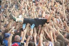 Jurek Owsiak, fondateur de la Pologne de festival de Woodstock et chef d'orchestre Photos stock