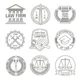 Juridical and legal logo elements in line style. Juridical and tribunal, barrister and legislation, hammer and protection, vector illustration Stock Photography