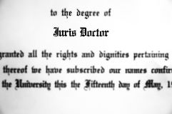 Juris Doctor Doctorate Law Degree for Lawyer Practicing. Juris Doctor doctorate law legal degree for practicing lawyer royalty free stock image