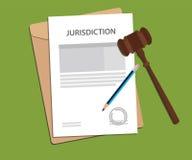 Jurisdiktionbegreppsillustration med skrivbordsarbete som undertecknar det undertecknade auktionsklubba- och mappdokumentet Fotografering för Bildbyråer