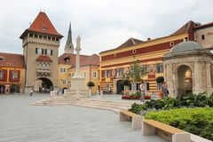 Jurisics Ter in Koszeg Fotografia Stock
