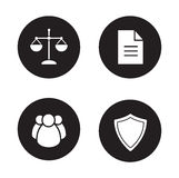 Jurisprudence and law black icons set Stock Photography