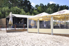 Jurmala,威严23从Jurmala的2014波儿地克的海海滩在拉脱维亚 库存照片