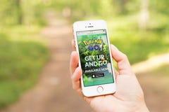 JURMALA,拉脱维亚- 2016年7月13日:Pokemon去手机的网站 Pokemon Go是一场基于地点的被增添的现实机动性比赛 库存图片