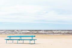 Jurmala beach. A bench in the sand at the beach in Jurmala Stock Photo