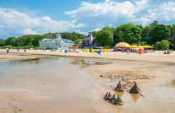 Jurmala beach. Jurmala quiet beach in spring season, small sand castles royalty free stock image