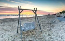 Sunsriseat sandy beach of Jurmala Latvia Stock Photography