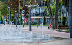 Jurmala Latvia. Jurmala, Latvia street and fountain near the Dzintari Concert Hall Stock Photo