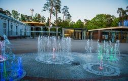 Jurmala Latvia. Jurmala, Latvia street and fountain near the Dzintari Concert Hall. At dusk Stock Images