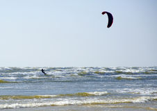 Jurmala (Latvia). Surfing with a parachute royalty free stock photo