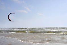 Jurmala (Latvia). Surfing with a parachute Stock Photography