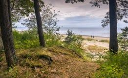 Jurmala, Letonia - 14 de agosto de 2018: Playa de Sandy en Jurmala Fotografía de archivo libre de regalías