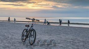 JURMALA LETTLAND - AUGUSTI 08, 2017: Cykla på solnedgången, Jurmala, Lettland royaltyfria bilder
