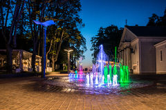 Jurmala at night. Jurmala colorful city fountain at night, Latvia royalty free stock image